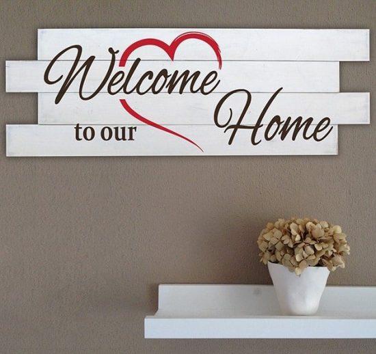 Shabby chic pannelli da parete in legno welcome