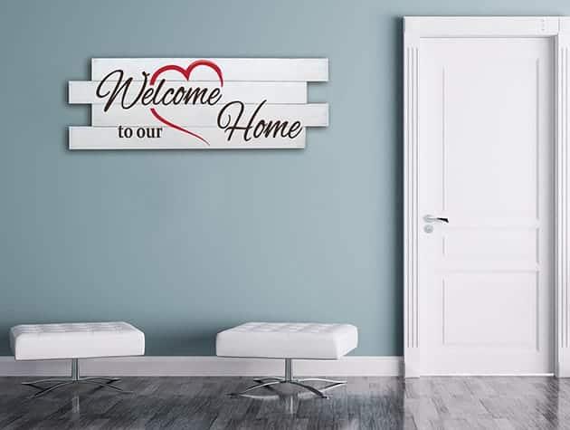 Shabby chic pannelli decorativi in legno welcome