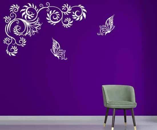 adesivi murali farfalle fiori stilizzati
