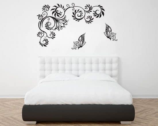 decorazioni murali farfalle fiori stilizzati