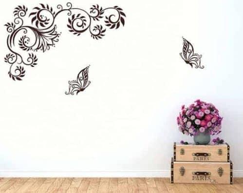 wall stickers farfalle fiori stilizzati