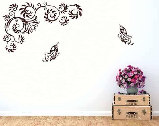 Adesivi da parete farfalle fiori stilizzati - Stickers da parete personalizzati ...