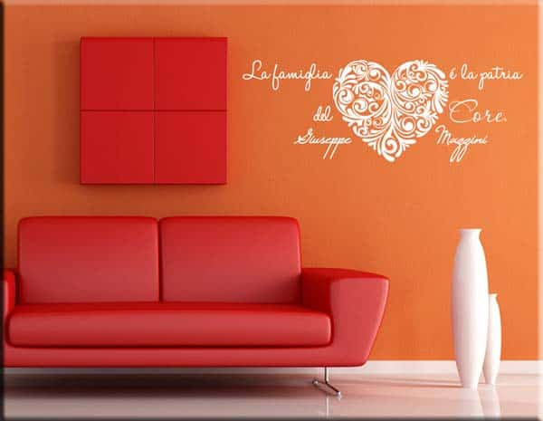 Adesivi da parete frase mazzini famiglia - Stickers da parete personalizzati ...