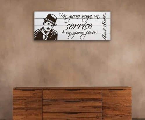 Shabby chic pannelli decorativi frase Charlie Chaplin