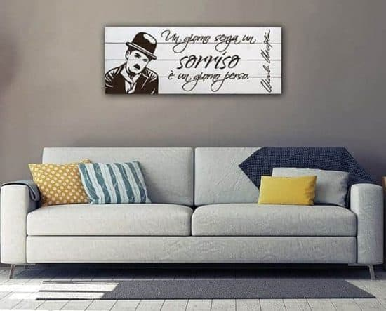 pannelli decorativi shabby chic frase Charlie Chaplin
