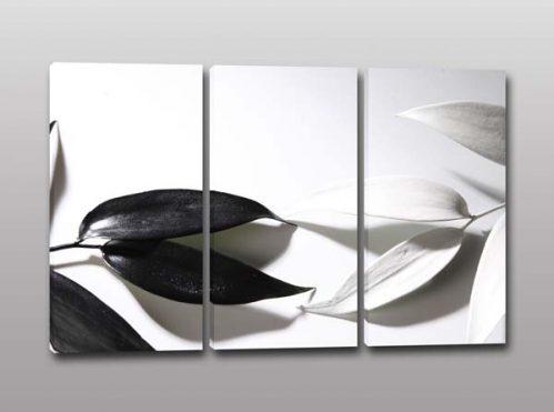 Quadri moderni stampa foglie bianche nere