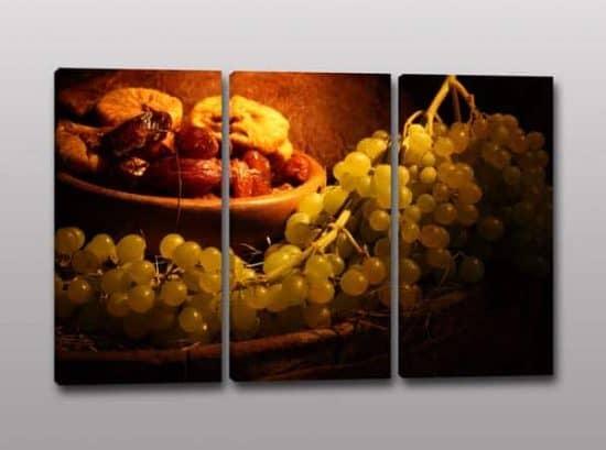 Tris quadri moderni uva cucina arredo