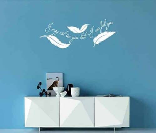adesivi da parete frase arredo piume design
