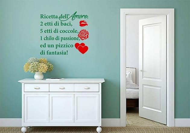 adesivi da parete ricetta dell'amore