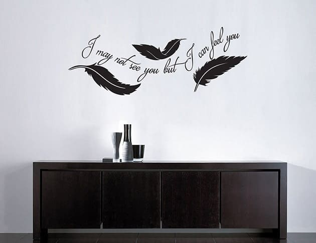 adesivi murali frase arredo piume design