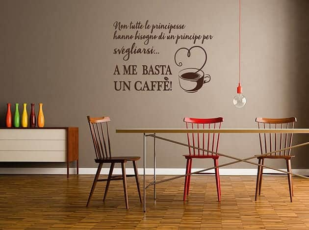 Adesivi murali frase caff cucina arredo for Scritte adesive cucina