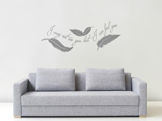 decorazioni murali frase arredo piume design
