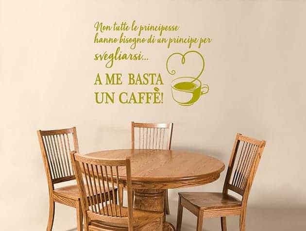 decorazioni murali frase caffè cucina arredo