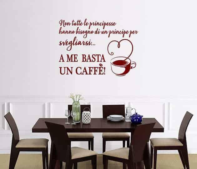 ADESIVI MURALI FRASE caffè CUCINA ARREDO