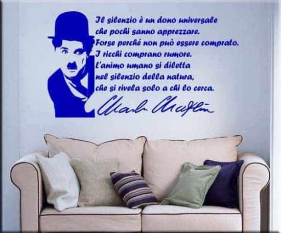 Adesivi da parete arredo frase Charlie Chaplin