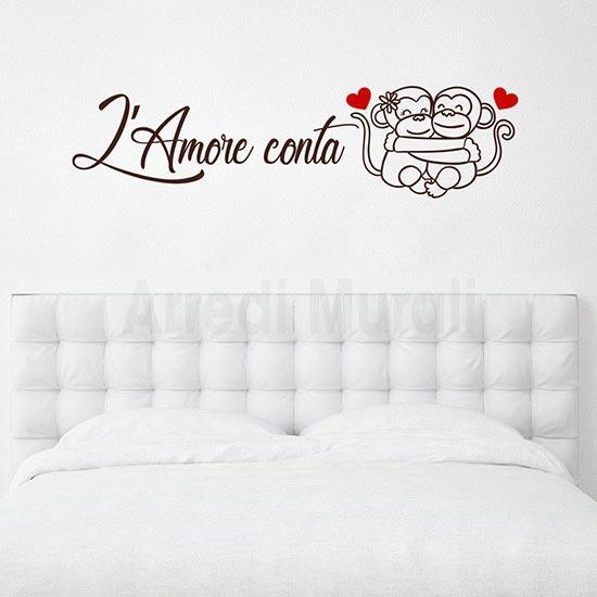 Adesivi da parete frase amore camera da letto 2 cuori rossi e scritta marrone