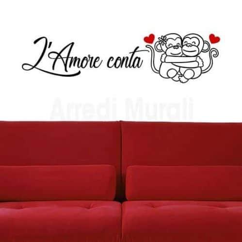 Adesivi da parete frase amore camera da letto nero con cuori rossi