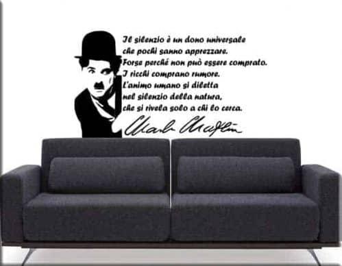 Adesivi murali arredo frase Charlie Chaplin