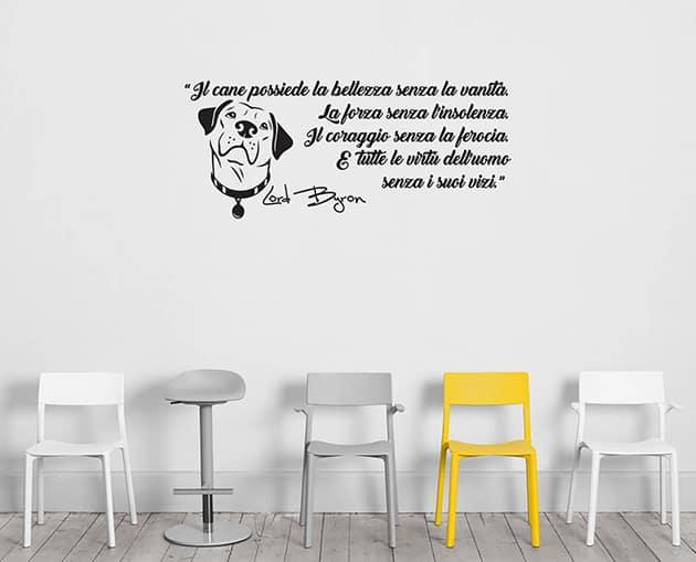 Adesivi murali frase cane Lord Byron arredo