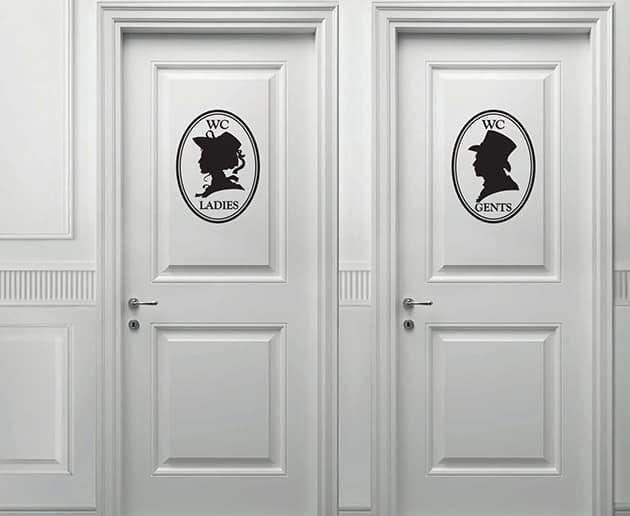 Adesivi murali indicazioni toilette uomo donna