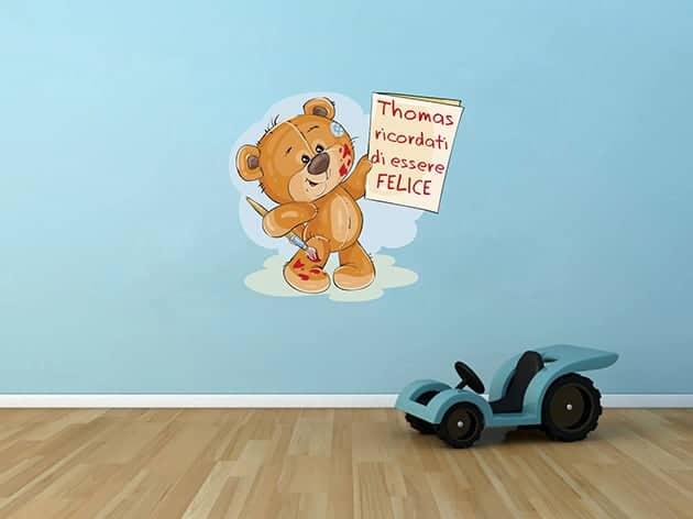 Adesivo murale camerette bimbi nome personalizzato orsetto