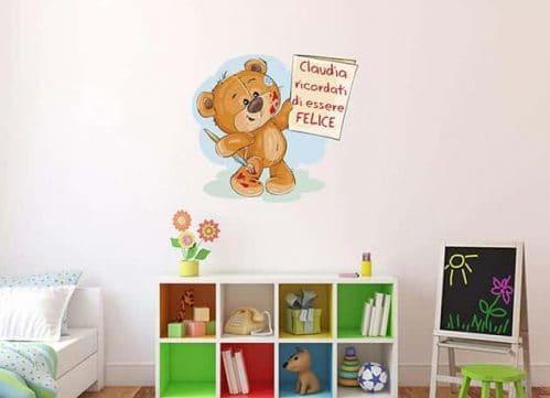 Adesivo personalizzato orsetto con nome e frase