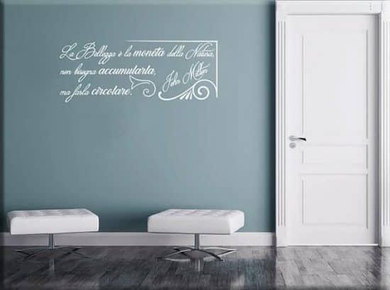adesivi da parete frase bellezza John Milton