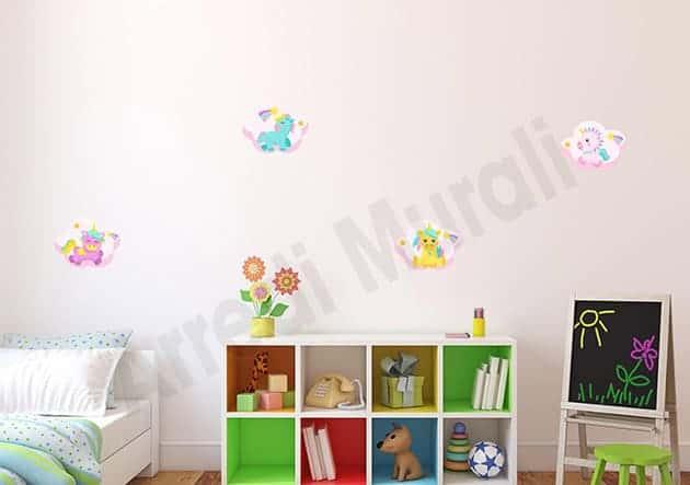 adesivi da parete unicorni camerette bambini