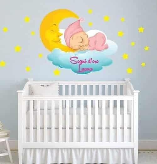 adesivi murali bebè personalizzato nome bambina