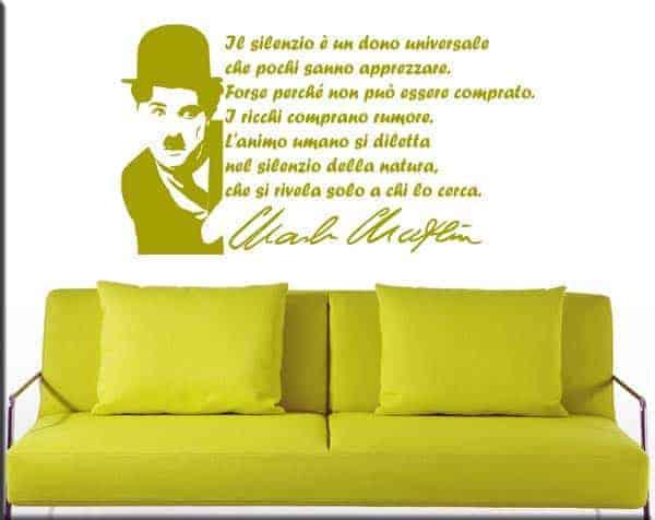 decorazioni murali arredo frase Charlie Chaplin