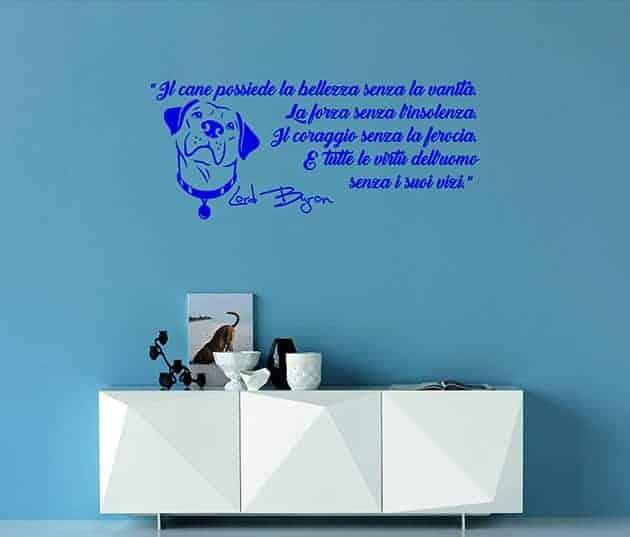 decorazioni murali frase cane Lord Byron arredo
