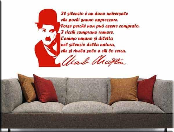 wall stickers arredo frase Charlie Chaplin