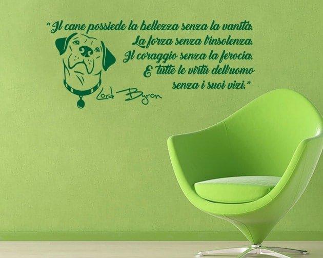 wall stickers frase cane Lord Byron arredo
