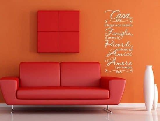 wall stickers frase casa famiglia arredo