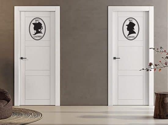 wall stickers indicazioni toilette uomo donna