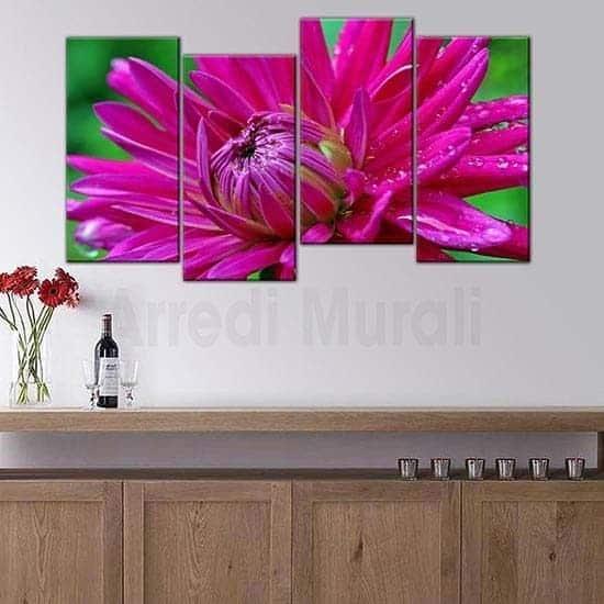 Quadri moderni fiore quattro stampe su tela fiore fucsia