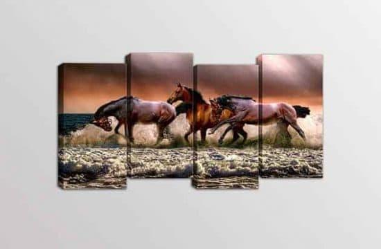 Quadri moderni stampe su tela cavalli arredo