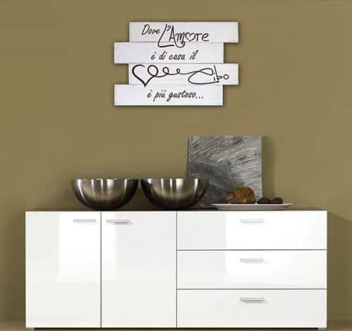 Shabby chic frase cucina pannelli decorativi in legno