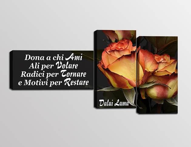 Tris quadri moderni frase Dalai Lama stampa tela