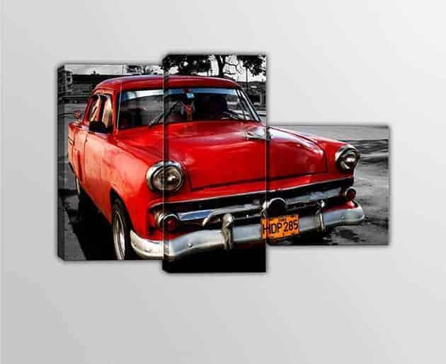 Tris quadri moderni stampe su tela auto vintage