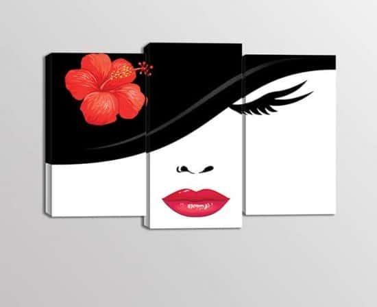 Tris quadri moderni stampe su tela bellezza donna