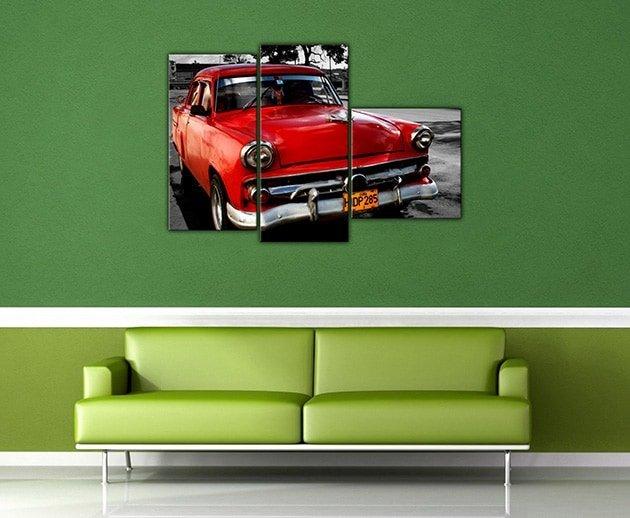 Tris quadri moderni stampe tela auto vintage