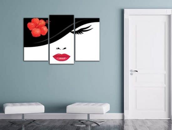 Tris quadri moderni stampe tela bellezza donna
