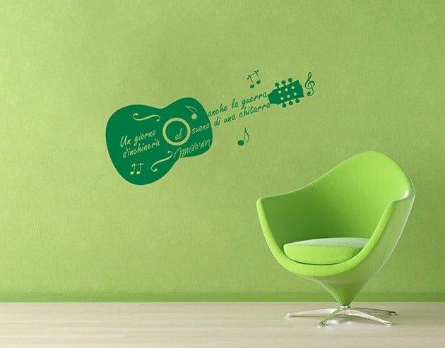 adesivi murali frase Jim Morrison chitarra
