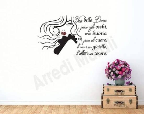 adesivi murali frase bella donna arredo
