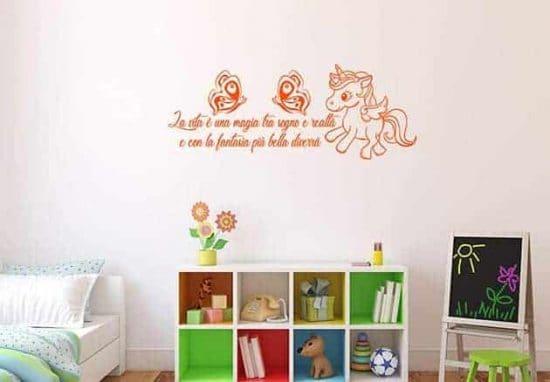 adesivi murali frase fantasia arredo camerette