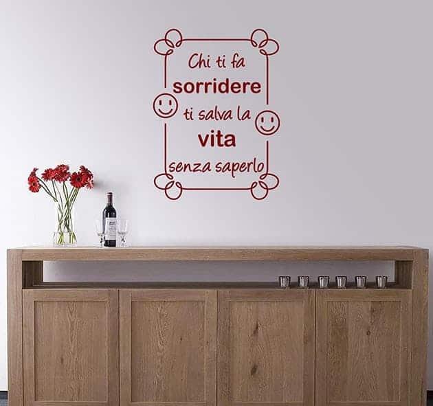 wall stickers frase arredo sorridere