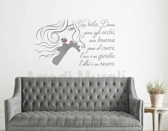 wall stickers frase bella donna arredo