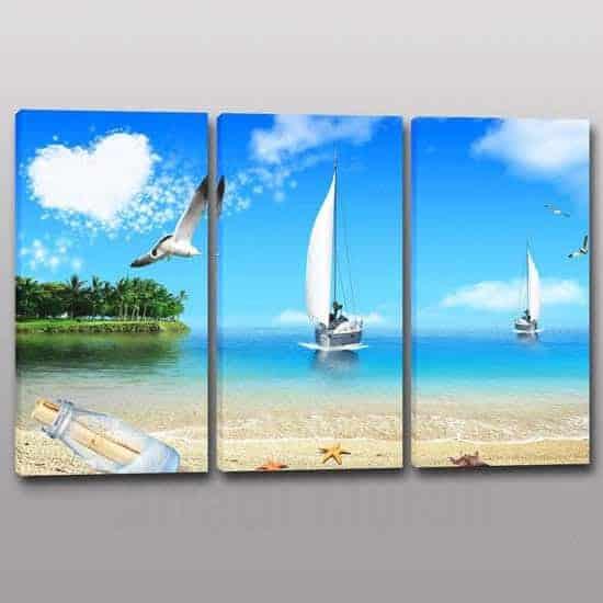 quadri moderni con paesaggio mare su 3 tele