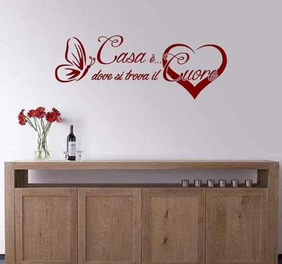 Adesivi murali frase arredo casa cuore